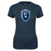 Ladies Syntrel Performance Navy Tee-Lion Shield