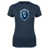 Ladies Syntrel Performance Navy Tee-Lion Shield