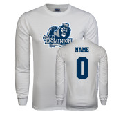 White Long Sleeve T Shirt-Primary Mark, Custom Tee w/ Name and #