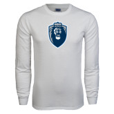 White Long Sleeve T Shirt-Lion Shield