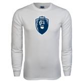 White Long Sleeve T Shirt-Lion Shield