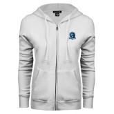 ENZA Ladies White Fleece Full Zip Hoodie-Monarchs Shield