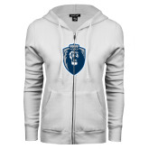ENZA Ladies White Fleece Full Zip Hoodie-Lion Shield