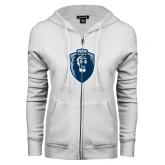 ENZA Ladies White Fleece Full Zip Hoodie-Lion Shield