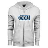 ENZA Ladies White Fleece Full Zip Hoodie-ODU