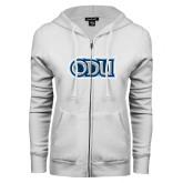 ENZA Ladies White Fleece Full Zip Hoodie-ODU