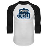 White/Black Raglan Baseball T Shirt-ODU w Crown