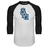 White/Black Raglan Baseball T Shirt-ODU Step