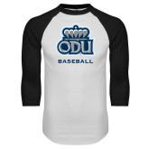 White/Black Raglan Baseball T Shirt-Basketball