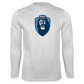 Performance White Longsleeve Shirt-Lion Shield