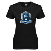 Ladies Black T Shirt-Monarchs Shield