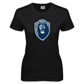 Ladies Black T Shirt-Lion Shield