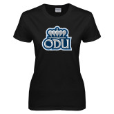 Ladies Black T Shirt-ODU with Crown