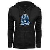 ENZA Ladies Black Fleece Full Zip Hoodie-Monarchs Shield