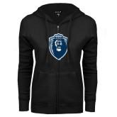 ENZA Ladies Black Fleece Full Zip Hoodie-Lion Shield