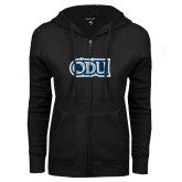 ENZA Ladies Black Fleece Full Zip Hoodie-ODU