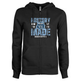 ENZA Ladies Black Fleece Full Zip Hoodie-History Made - ODU vs VT