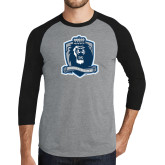 Grey/Black Tri Blend Baseball Raglan-Monarchs Shield