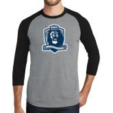 Grey/Black Tri Blend Baseball Raglan-Monarchs Shield