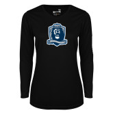 Ladies Syntrel Performance Black Longsleeve Shirt-Monarchs Shield