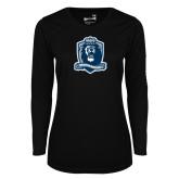 Ladies Syntrel Performance Black Longsleeve Shirt-Monarchs Shield