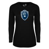 Ladies Syntrel Performance Black Longsleeve Shirt-Lion Shield