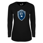 Ladies Syntrel Performance Black Longsleeve Shirt-Lion Shield