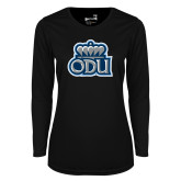 Ladies Syntrel Performance Black Longsleeve Shirt-ODU w Crown