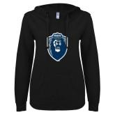 ENZA Ladies Black V Notch Raw Edge Fleece Hoodie-Lion Shield