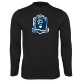 Performance Black Longsleeve Shirt-Monarchs Shield