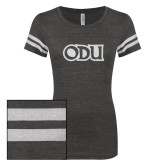 ENZA Ladies Black/White Vintage Triblend Football Tee-ODU White Soft Glitter