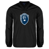 V Neck Black Raglan Windshirt-Lion Shield