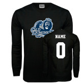 Black Long Sleeve T Shirt-Primary Mark, Custom Tee w/ Name and #