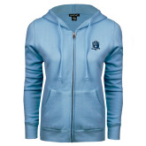 ENZA Ladies Light Blue Fleece Full Zip Hoodie-Monarchs Shield
