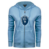 ENZA Ladies Light Blue Fleece Full Zip Hoodie-Lion Shield