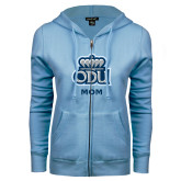 ENZA Ladies Light Blue Fleece Full Zip Hoodie-Mom