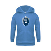 Youth Light Blue Fleece Hood-Lion Shield
