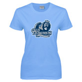 Ladies Sky Blue T Shirt-Primary Mark Distressed