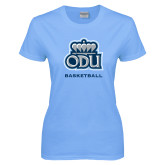 Ladies Sky Blue T-Shirt-Basketball