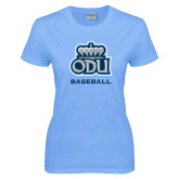 Ladies Sky Blue T Shirt-Baseball