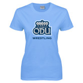 Ladies Sky Blue T-Shirt-Wrestling