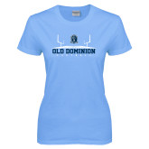 Ladies Sky Blue T-Shirt-Football Field