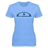 Ladies Sky Blue T Shirt-Football Inside