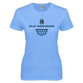 Ladies Sky Blue T-Shirt-Basketball Net