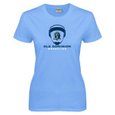Ladies Sky Blue T-Shirt-Wrestling Helmet