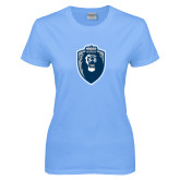 Ladies Sky Blue T-Shirt-Lion Shield