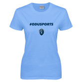 Ladies Sky Blue T-Shirt-ODUSPORTS Hashtag