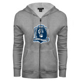 ENZA Ladies Grey Fleece Full Zip Hoodie-Monarchs Shield