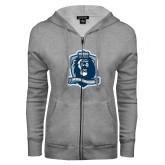 ENZA Ladies Grey Fleece Full Zip Hoodie-Monarchs Shield