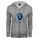 ENZA Ladies Grey Fleece Full Zip Hoodie-Lion Shield